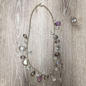 Silver-grey statement necklace with heart charms